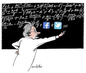 Scientist writing a formula on the board and adding facebook and twitter icons