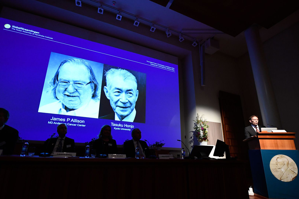 2018 winners of the Nobel Prize in medicine: James P. Allison and Tasuku Honjo