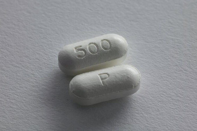 Pills lying on a white background