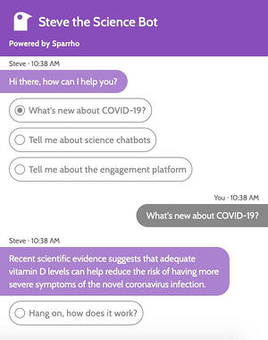 Steve the Science Bot chatting with the user