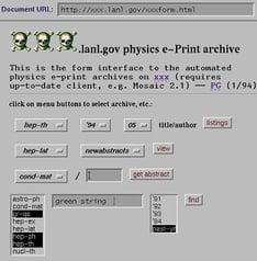 Screenshot of arXiv in 1994-2