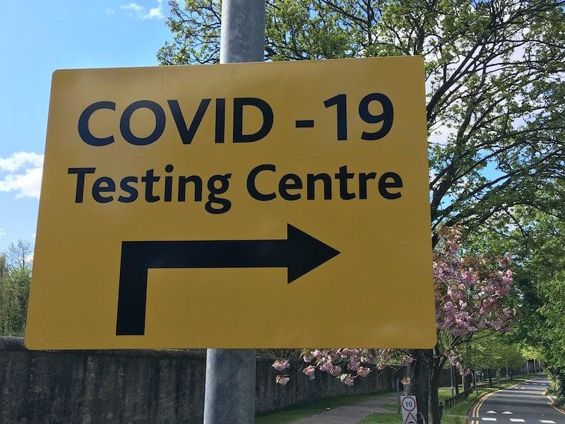 Covid-19 testing centre sign